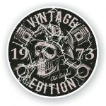 Distressed Aged Vintage Edition Year Dated 1973 Biker Skull Roundel Vinyl Car Sticker Decal 87x87mm